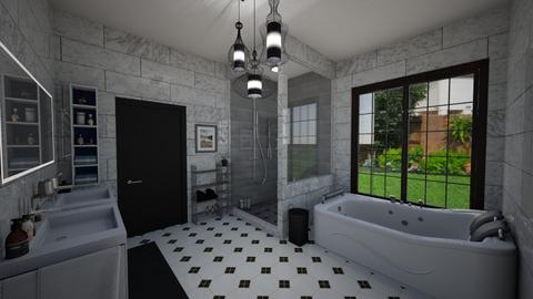 Black and White Bathroom - Modern - Bathroom - by Rin12106