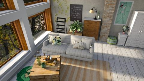aqua peach - Rustic - Living room - by jjannnii