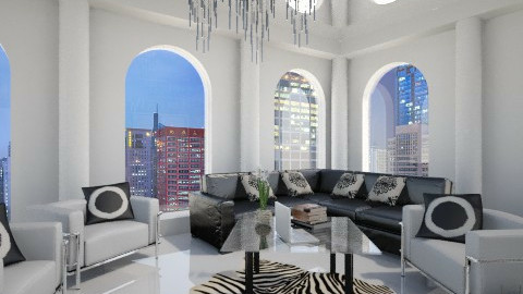 black and white living - Living room - by cri_pero