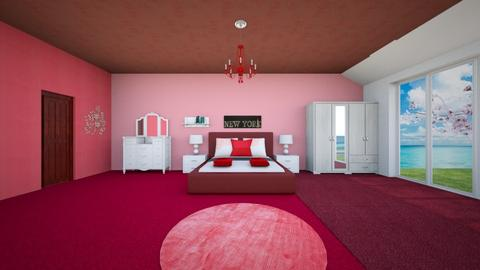 Wine Red Bedroom - Bedroom - by Haniehmn