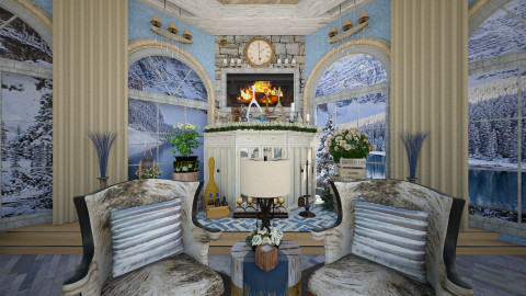 Mountain Lake Retreat 4 - Rustic - Living room - by dZynerSuPreme