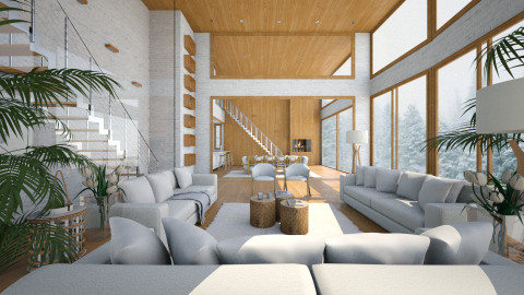 White and Wood  - Living room - by Ivana J