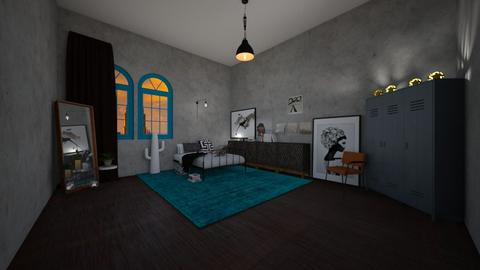 Industrial bedroom - Bedroom - by RoomstylerNona