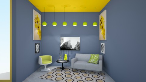 Yellow LIving - Living room - by Ava Reall