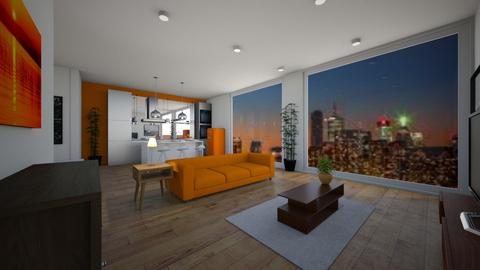 orange apartment - Kitchen - by GraceRoomstyler