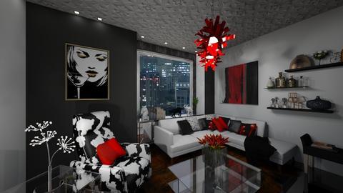 red white and black - Living room - by zsjv1989gmailcom