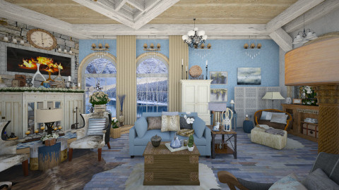 Mountain Lake Retreat 3 - Rustic - Living room - by dZynerSuPreme