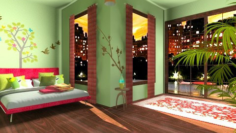 Red Brown Green - Bedroom - by aoi