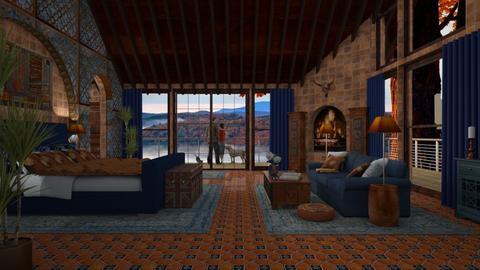 Design 387 Blue Orange Bedroom - Bedroom - by Daisy320