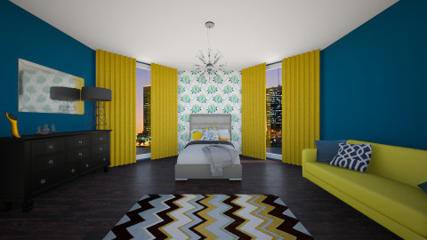 Navy Yellow - Bedroom - by Zoe_Roomstyler