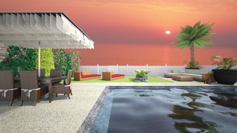 Sunset by the Pool - Glamour - Garden - by Joao M Palla