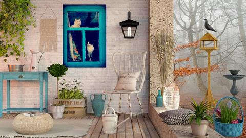 Cats in the Window - Rustic - Garden - by Sally Simpson