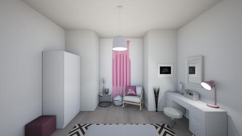 White with pink - Modern - Bedroom - by UniverseFloater