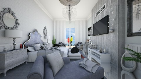 Silver Bedroom - Glamour - Bedroom - by DeborahArmelin