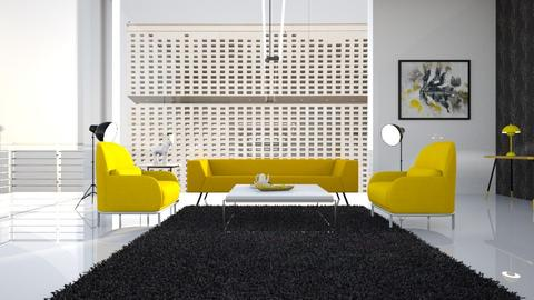 Yellow_and_Black - Living room - by ZuzanaDesign