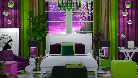 Purple and Green Bedroom - by ritsa