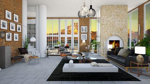 Brick Glass And Mortar - Modern - Living room - by janip