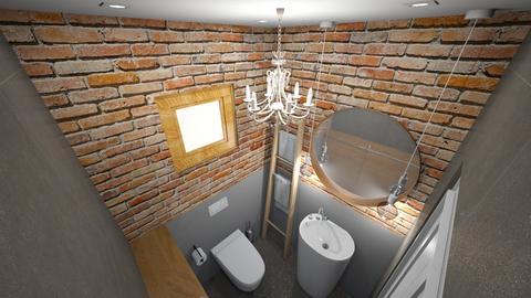 natural brick in bathroom - Bathroom - by bianca boeriu