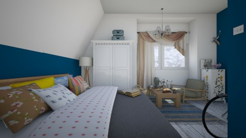 Attic blue - Bedroom - by Polya_Nikols