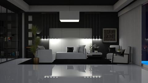 Black and white and shiny - Bedroom - by ayu DR