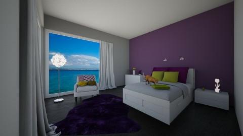 sypialnia zielony i fiole - Minimal - Bedroom - by ankablankab
