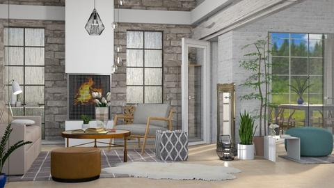 Gray Brick - Rustic - Living room - by millerfam