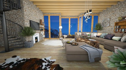 Mountain warm living room - Living room - by michalbank11
