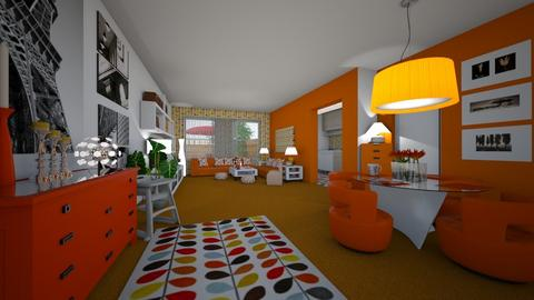 Orange Carpet - Living room - by hillygabe