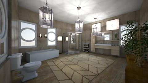 sandy tile bathroom - Glamour - Bathroom - by kla
