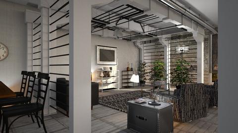 Industrial_Living - Living room - by ZuzanaDesign