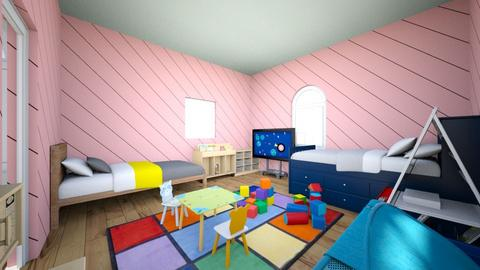 boy and girl kids room - Retro - Kids room - by jhembry