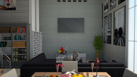 Industrial Living Room - Rustic - Living room - by ayu DR