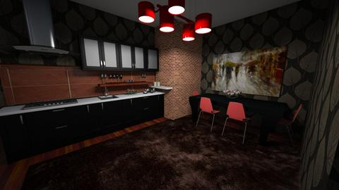 Black and Red Night - Kitchen - by way_wildness