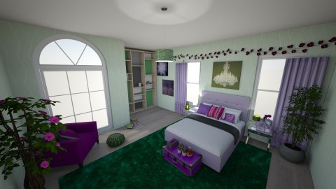 purple and green bedroom - by ehamlin