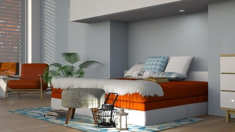 Orange Bed - Modern - Bedroom - by thatspeachy767