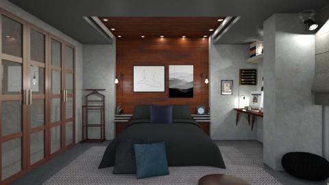 wooden bedroom - Bedroom - by mayssa ltf