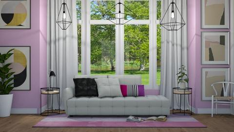 Purple Baywindow Living - Modern - Living room - by NEVERQUITDESIGNIT