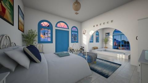 Vacation in Santorini - Bedroom - by moosierawwr