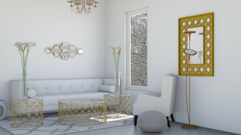White and Gold - Glamour - Living room - by gtenenbaum1