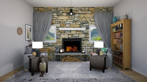 Stone - Rustic - Living room - by Isaacarchitect