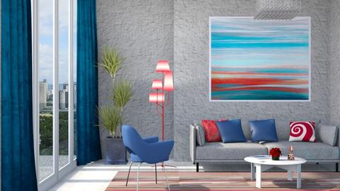 M_ Blue and red - Living room - by milyca8