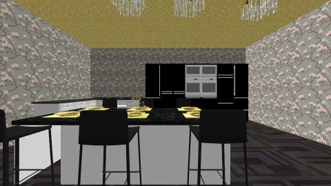 black and gold kitchen - Kitchen - by KB DAVIS