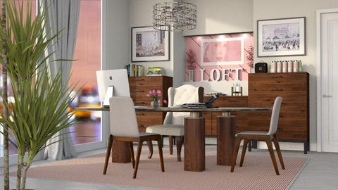 Brown and Pink Office - Office - by GraceKathryn
