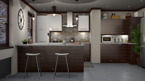 S_Chocolate brown - Kitchen - by Shajia