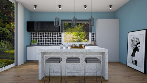 teal kitchen - Kitchen - by evemorgan96