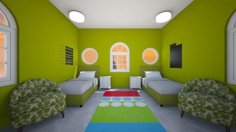 Symmetrical Teen Twins - Retro - Bedroom - by Nerd4Life
