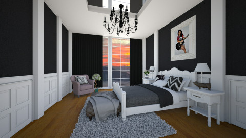 Black and White bedroom - Bedroom - by Patricia Mari Rosario