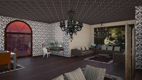 Leather_brown_room - Country - Bedroom - by Gre_Taa