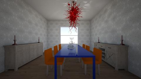 Red Chairs Blue Table - Dining room - by 18ssnyde
