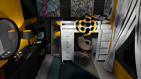 Yellow Modern Dorm Room - Modern - Bedroom - by WaughCat